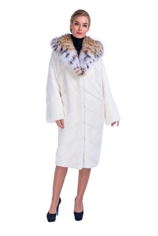 Белая норковая шуба NAFA с капюшоном из рыси (373-11013)
