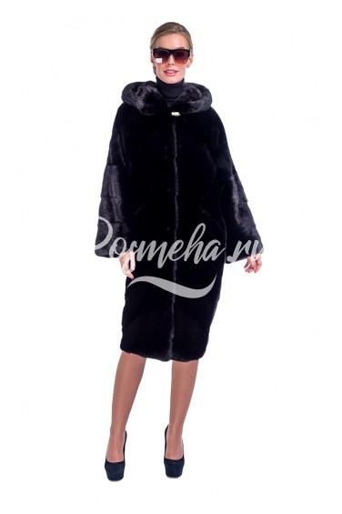 Блек шуба кимоно из норки капюшон (382-11013)