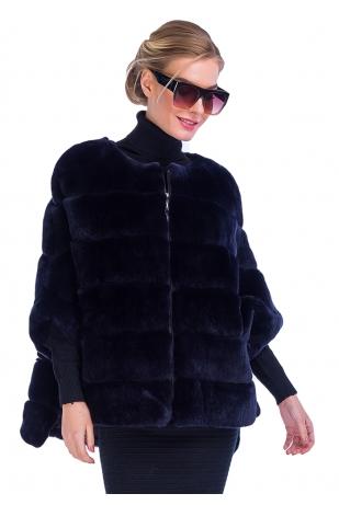 Индиго свитер из меха кролика (140-6004)