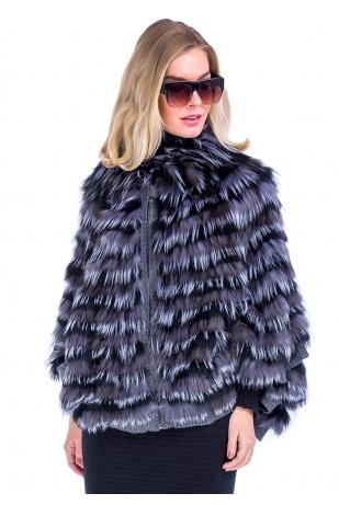 Серое пальто из чернобурки свободного кроя (09-70352)