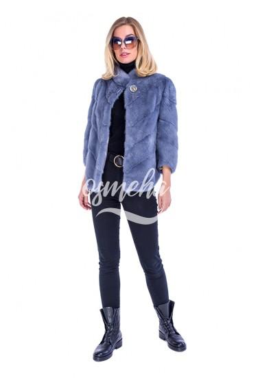 Автоледи джинса из меха норки воротник стойка (008-65164)