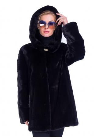 Блек норка Nafa с капюшоном (90-80512)