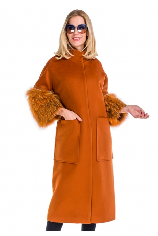 Пальто оранж рукав чернобурка (57-10030)