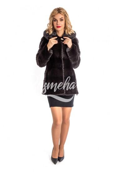 Норковая куртка автоледи уголь (14-7519)
