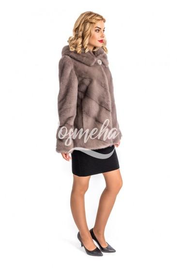 Куртка из норки сильвер капюшон (001-70404)