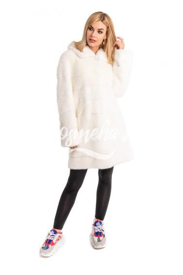Белая норковая шуба капюшон (017-9048)