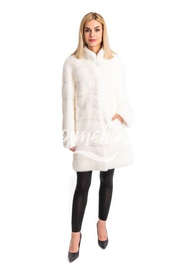 Норковая белая шуба со стойкой (027-9048)