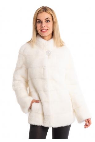 Норковая белая шубка стойка (042-7048)