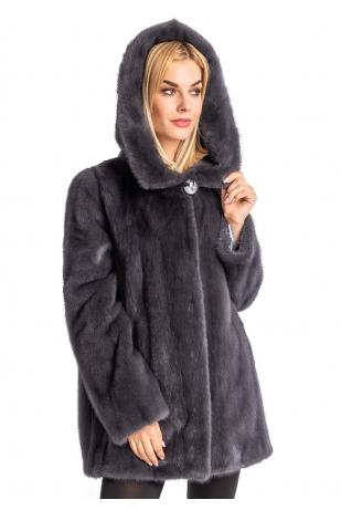Куртка из меха норки графит с капюшоном (053-8048)