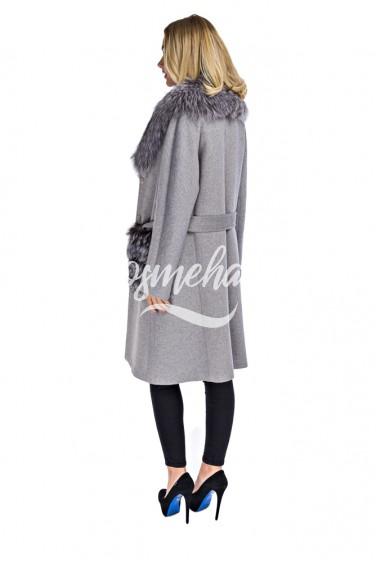 Пальто с мехом чернобурки (42-908)