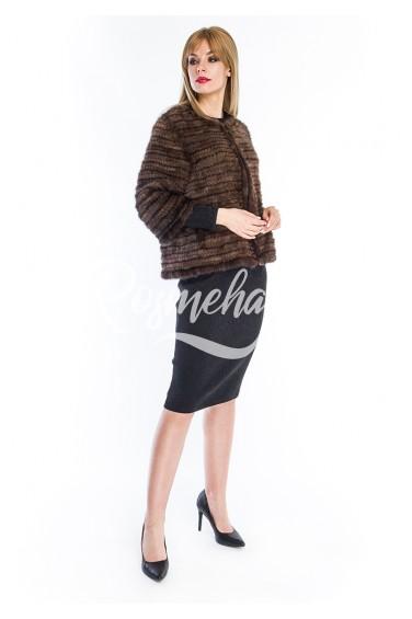 Коричневый жакет из вязаной норки рукав 3/4 (001-6039)