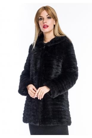 Куртка из вязаной норки с капюшоном (003-8039)
