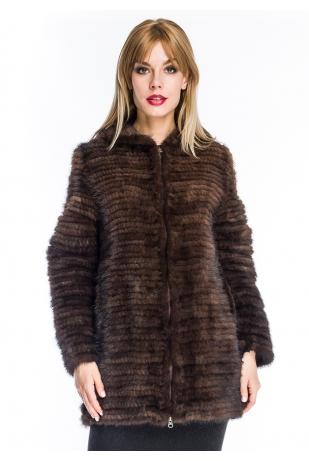 Коричневая куртка из вязаной норки с капюшоном (004-8039)