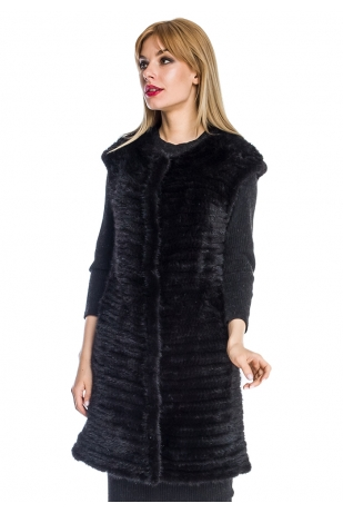 Черный меховой жилет из вязаной норки (006-9039)