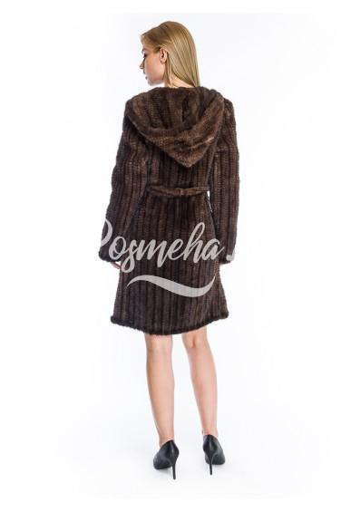 Длинный френч из вязаной норки с капюшоном (028-10039)