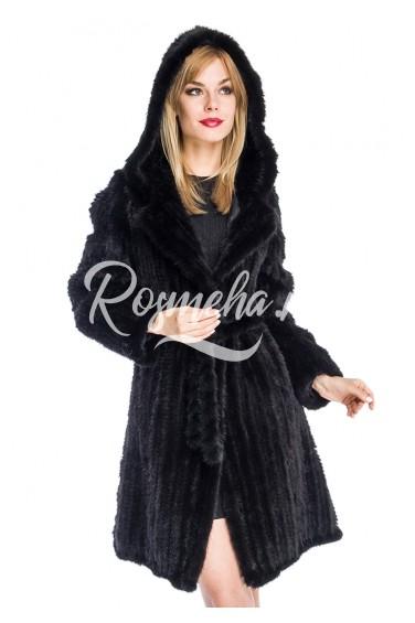 Длинный черный френч из вязаной норки с капюшоном (029-10039)