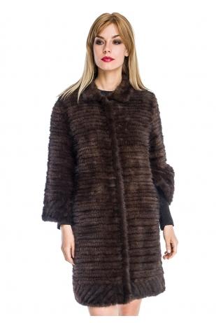 Пальто из вязаной норки стойка (030-9039)