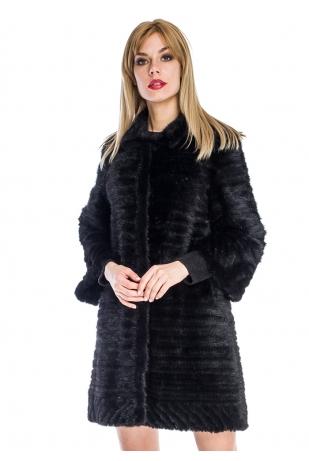 Стильное пальто из вязаной норки воротник стойка (031-9039)