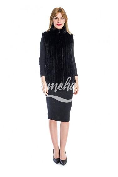 Приталенный жилет из меха вязаной норки (032-7039)