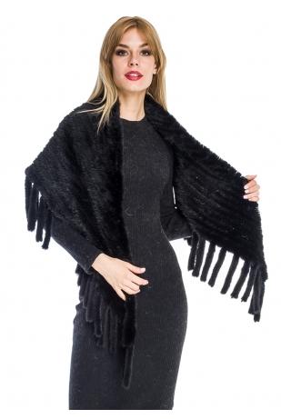Накидка из вязаной норки (039-7039)