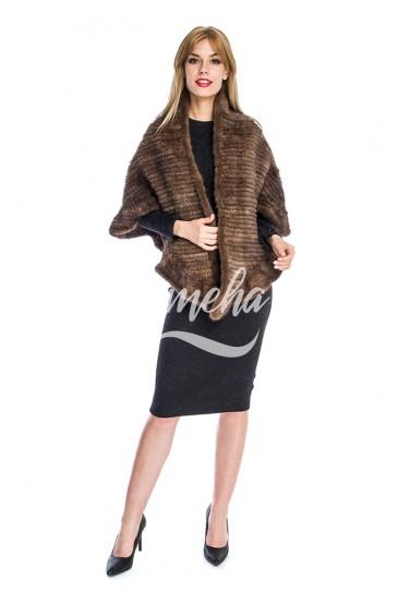 Накидка из вязаной норки волна (041-7039)