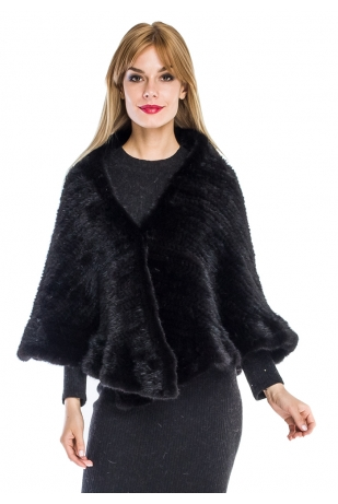 Накидка черная из вязаной норки волна (042-7039)