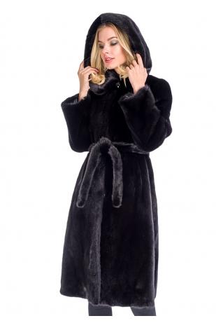 Классика черная шуба халат из норки NAFA с капюшоном (001-10059)