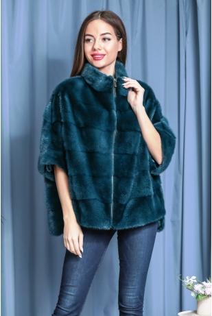 Изумрудный свитер из меха норки (141-6004)