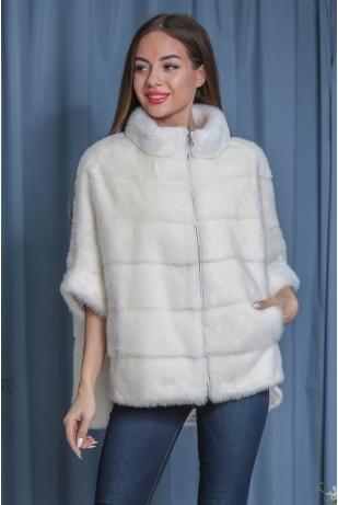 Белый свитер из меха норки (148-6004)