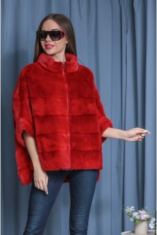 Красный свитер из меха норки (149-6004)