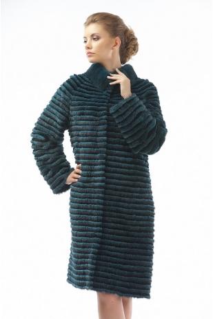 Пальто из меха норки и кролика изумруд (00-100521)