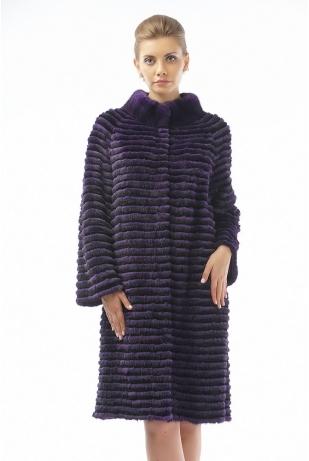 Пальто из меха норки и кролика фиолет (01-100521)