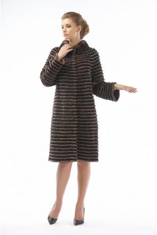 Пальто из меха норки и кролика (02-100521)