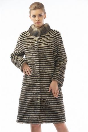 Меховое пальто рекс и норка (06-100521)