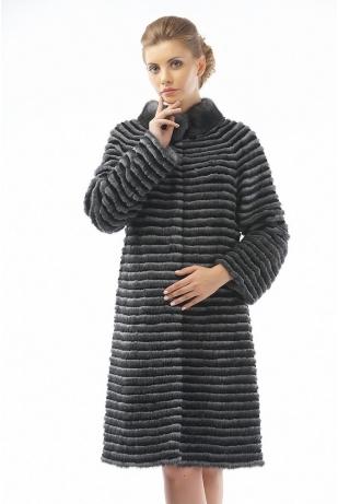 Меховое пальто рекс и норка графит (07-100521)