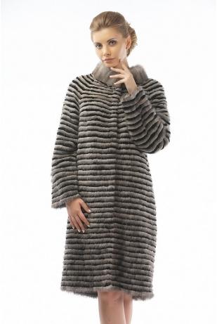 Меховое пальто рекс и норка серый (08-100521)