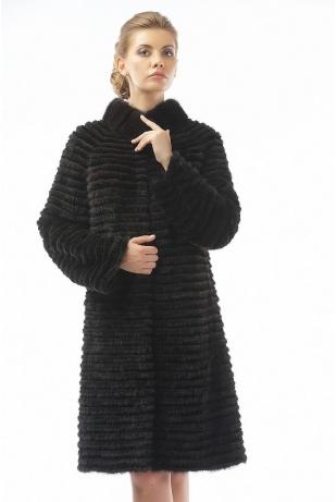 Меховое пальто рекс и норка махагон (09-100521)