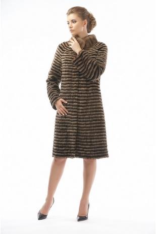 Пальто из меха норки и рекса кофе (10-100521)