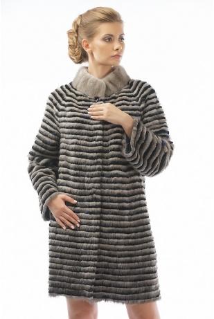 Пальто из норки и рекса серебро (14-90521)