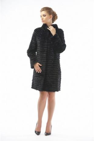 Пальто из норки и рекса черный (15-100521)