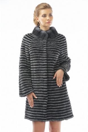 Пальто трикотаж из норки и кролика (17-90521)