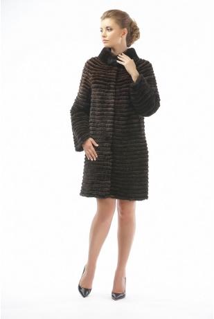 Пальто из норки и рекса коричневый (12-90521)