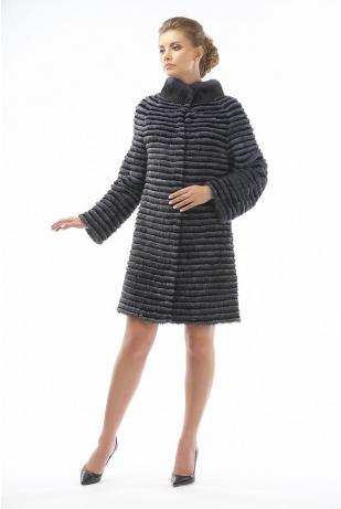 Пальто из норки и кролика (23-90521)