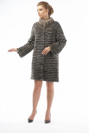 Меховое пальто из норки и кролика (25-90521)