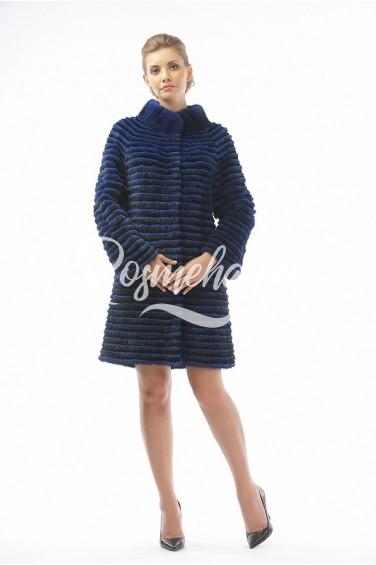 Меховое пальто из норки и кролика электрик (26-90521)
