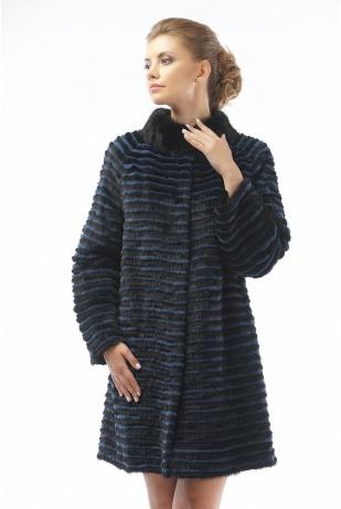 Меховое пальто из норки и кролика (27-90521)