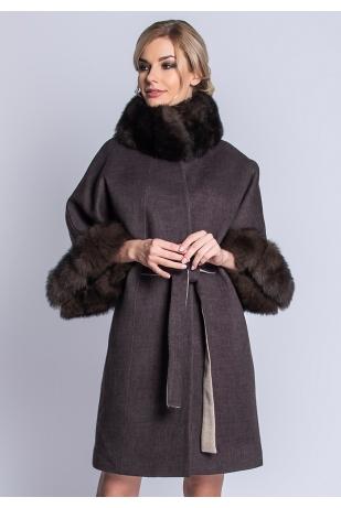 Пальто из альпаки с песцом (101-9010)