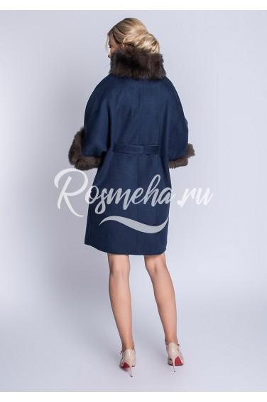 Пальто с мехом свободного кроя (102-9010)