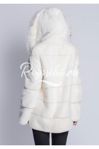 Белый норковый полушубок с рысью (14-70512)