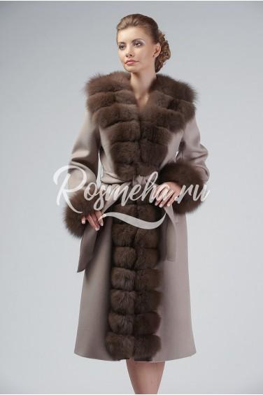 Шерстяное пальто с мехом (79-10010)